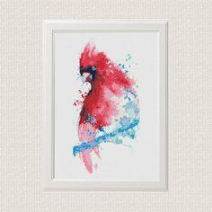 acuarela Cardenal rojo pájaro Punto de cruz patrón moderno ❤ ❤ ❤ Siempre se puede encontrar y descargar aquí: You> Compras y opiniones ❤ DETALLES DEL MODELO ❤ Patrón PDF Stitches: 81x166 Fabric: Aida 14, Any fabric you like Floss: DMC (14 colors) Size: 14.70 x 30.12 cm/ 5.79 x 11.86 inch (14 count) ------- 11.43 x 23.42 cm/ 4.50 x 9.22 inch (18 count) Este patrón es en PDF formato JPEG y consiste en una foto de ejemplo, una lista de la seda de DMC y un cuadro de símbolos de co...