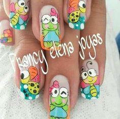 Hello Kitty Nails, Nail Decals, Love Nails, Manicure And Pedicure, Trendy Nails, Nail Designs, Lily, Nail Art, Manga