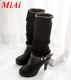 2016 Women's Leather Boots | 2016-new-fashion-pu-leather-shoes-woman-autumn-winter-boots-high-heels ...
