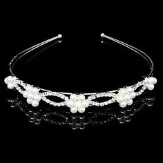 Wedding Bridal Flower Girls Kids Crystal Pearl Hair Band Headband Tiara – USD $ 4.99