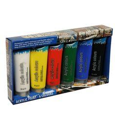 Acrylverf set in tubes 75 ml. Set van zes acrylverf tubes van elk 75 ml in de kleuren: wit, geel, rood, groen, blauw en zwart.