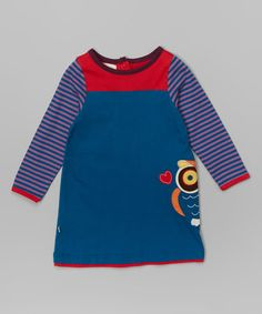 Love this Blue Stripe Owl Organic Shift Dress - Infant, Toddler & Girls by Origany on #zulily! #zulilyfinds