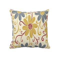 Golden, Blue and Red Flowers Throw Pillow