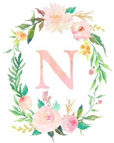 Floral Whimsy Monogrammed Wreath - Personalized Print n letter Floral Whimsy Monogrammed Wreath - Personalized Print Floral Wreath Watercolor, Gold Watercolor, Watercolor Lettering, Monogram Wallpaper, Alphabet Wallpaper, Print Wallpaper, Monogram Wreath, Monogram Letters, Flower Backgrounds