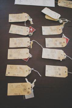 """""""keychain"""" escort cards // photo by Still Love"""