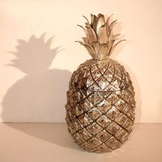1950s Italian Ice Bucket in silvered metal as a pineapple, designed by Mauro Manetti #entertaining #dining