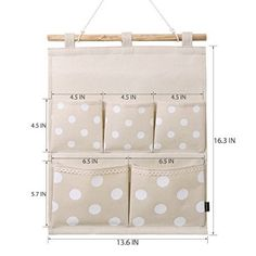 Homecube Linen Cotton Fabric Wall Door Cloth Hanging Storage Bag Case 5 Pocket Home Organizer (White Polka Dots) crafts storage, Wall Hanging Storage, Baby Sewing Projects, Wall Organization, Diy Home Crafts, Wall Pockets, Sewing Toys, Baby Room Decor, Bag Storage, Baby Quilts