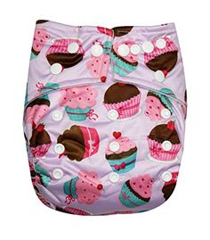 See Diapers Pocket Baby Cloth Diaper 2 Microfiber Inserts Adjustable (Cupcake)