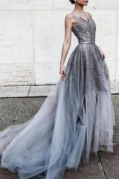 Plus Size Prom Dress, Gray tulle sequins round neck see-through long prom dress,train dresses Shop plus-sized prom dresses for curvy figures and plus-size party dresses. Ball gowns for prom in plus sizes and short plus-sized prom dresses Prom Dresses 2018, Tulle Prom Dress, Dress Up, Wedding Dresses, Tulle Wedding, Party Dress, Sequin Wedding, Designer Prom Dresses, Prom Gowns