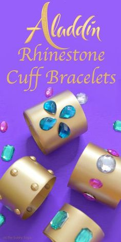 Celebrate a whole new world of jewelry making with these Aladdin-inspired rhinestone cuff bracelets made from upcycled plastic bottles! Princess Crafts, Disney Princess Party, Cinderella Princess, Princess Aurora, Princess Bubblegum, Aladdin Birthday Party, Indian Birthday Parties, Diy Craft Projects, Fun Crafts