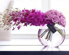 Rose and Orchid Vase. Ikebana is one of my fave hobbies. Flower Centerpieces, Flower Vases, Flower Decorations, Flower Art, Rose Vase, Purple Centerpiece, Orchid Vase, Orchid Flowers, Arrangements Ikebana
