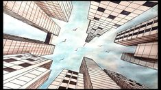 Drawing For Beginners Drawing A City in one point perspective Landscape Art Lessons, Landscape Drawings, City Landscape, Fantasy Landscape, Cool Landscapes, 1 Point Perspective Drawing, Perspective Art, Worms Eye View, Sketchbook Cover