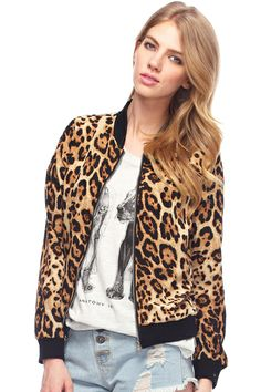 Contrast Trimming Leopard Print Jacket