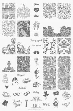 Love and Marriage-01 - UberChic Beauty Nail Stamp Plates - EASY nail art! Need easy nail art ideas? Try nail stamping! It's easy AND affordable - plus you can reuse it time and time again! Where Jamberry is a one time use - these you can use over and over with any color you'd like! Nail stamping is so much fun! I love it!!!