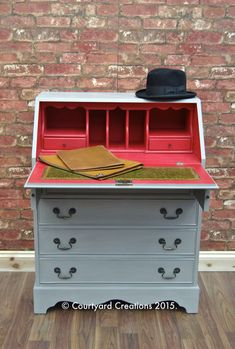 Quirky Upcycled Painted Furniture | Hand Painted Bureau in Annie Sloan Emperor Silk & French Linen Chalk Paint