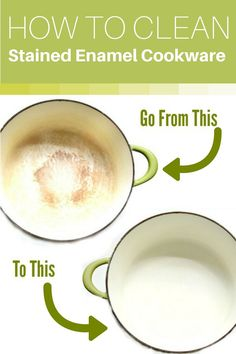 How to Make Stained Enamel Cookware White Again! Got Stained enamel cookware and can't get it clean with regular dish soap or your dishwasher? Here's how to get it bright and white again the easy way! Deep Cleaning Tips, House Cleaning Tips, Spring Cleaning, Cleaning Hacks, Diy Hacks, Cleaning Products, Cleaning Solutions, Cleaning Shoes, Cleaning Recipes