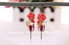 Min order is $10(mix order)Tassel Korean National Bohemian Rose flower Rhinestone Bead pearl Crystal Flower Drop Earrings