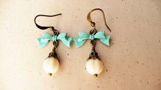 Turquoise and ivory bow dangle earrings No 115 by VerdigrisGifts, $17.00