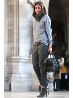 Day 6PFW does cozy with trouser pants and a chicly baggy sweater. Read more: Paris Fashion Week Street Style Spring 2013 - Spring Fashion Week Street Style - Marie Claire