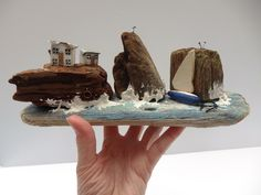 Your place to buy and sell all things handmade Seaside Decor, Reclaimed Wood Art, Sea Spray, White Sea, Out To Sea, White Cottage, Coastal Art, Driftwood Art, Little Houses
