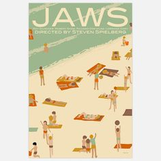 Jaws Print 16x24  by Claudia Varosio  Featuring Varosio's original ideas and artwork, this poster is inspired by Steven Spielberg's great shark film.