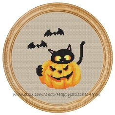 Cross Stitch Pattern PDF halloween cat with di HappyStitches4You