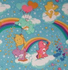 Care Bears Fabric Rainbow Clouds Bears Stars Blue Pink White Purple | originalsbycindy - Craft Supplies on ArtFire