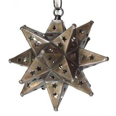 Moravian Star Pendant in bronze with star-pierced tin