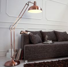 XL koperen vloerlamp