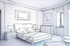 Картинки по запросу рисунок интерьера карандашом