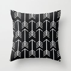 Throw Pillow Cover Boho Graphic Arrows Black by PillowsByElissa, $22.00 housewares decorative accent throw pillow cushion sofa bed chair living room bedroom black and white arrow geometric arrows tribal boho graphic blue gray grey cool home decor modern
