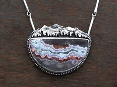 Wandering Fox Mountain Necklace - Crazy Lace Agate and Silver - Mountain Range Landscape - Silversmith Nature Pendant - One of a Kind