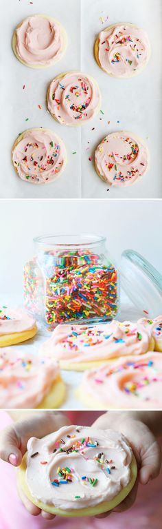 Giant Sugar Cookies with Cherry Buttercream and Sprinkles! This is the BEST cookie recipe!
