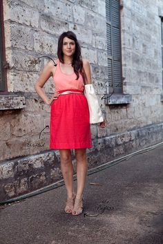 Peach tank, coral skirt, nude suede sandals