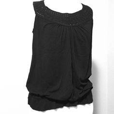 Black crochet tank Excellent condition. Only worn once or twice. MSSP brand. Anthropologie Tops Tank Tops