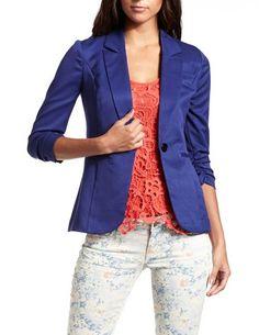 Cobalt Ruched-Sleeve Blazer: Charlotte Russe