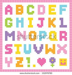 Vector pixel art alphabet set in pretty colors, isolated on white. Good for scrap-booking, school projects, posters, textiles. See my folio for JPEG version and for other colors. Melty Bead Patterns, Hama Beads Patterns, Loom Patterns, Beading Patterns, Perler Bead Templates, Diy Perler Beads, Perler Bead Art, Perler Bead Disney, Graph Paper Art