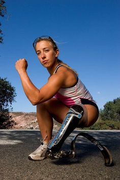 October 15, 2005 Sarah Reinertsen,  completed the Ironman World Championships in Kona Hawaii, in 15 hours and 5 minutes.  That's running a marathon (26 miles 385 yards), after completing a 2.4 mile swim, and 112 mile bike ride.