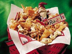 Reindeer Snack- salty treat with bugles, pretzels, popcorn, cheerios