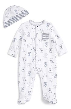 Little Me Puppy Toile Footie & Beanie Set (Baby Boys) available at #Nordstrom