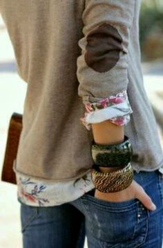 cute patch sleeve sweater over a petite flower print shirt. add to a cute cardigan .easy