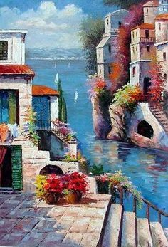 However, we think that your passion to capture intense art brought you to the right place where we reveal simple and easy landscape painting ideas for you. Easy Landscape Paintings, Scenery Paintings, Easy Paintings, Beautiful Paintings, Acrylic Portrait Painting, Painting Art, Mediterranean Art, Mediterranean Paintings, Beginner Painting