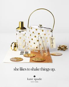 featuring the cocktail shaker, raise a glass ice bucket, make me blush hinged, as good as gold, heart of gold, food for thought placemat, happy hour coasters, and cheers wine tags. #getgifted