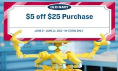 Old Navy: $5/$25 Printable Coupon (Exp. 6/21) - MoneySavingQueen - May 2012