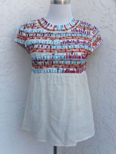 Gryphon-New-York-size-Small-silk-cotton-bright-multi-color-tunic-top