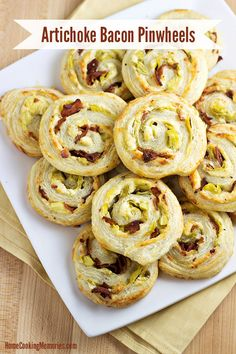 Artichoke Bacon Pinwheels - an easy game day appetizer recipe that won't have you going into overtime in the kitchen! #12Bloggers