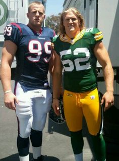 JJ Watt and Clay Matthews in the same picture..i think i just died. my two favorite men in the NFL!
