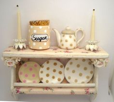 1/12TH scale  shabby chic romantic cream roses kitchen by 64tnt, €55.00