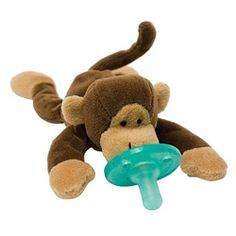 The WubbaNub Monkey Infant Pacifier stays close to baby and is easily grasped and manipulated. No more losing or forgetting your baby's pacifier.