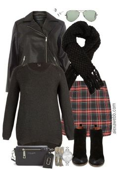 Plus Size Plaid Miniskirt Outfit - Plus Size Fashion for Women - Plus Size Clothing - alexawebb.com #alexawebb